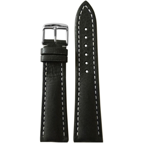 22mm Dark Brown Oiled Genuine Vintage Leather Watch Strap with White Stitching for Breitling (22x18) | Panatime.com