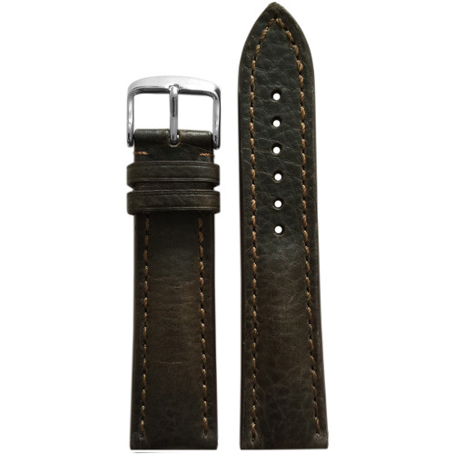 22mm Mocha Genuine Vintage Leather Watch Strap with Match Stitching for Breitling (22x18) | Panatime.com