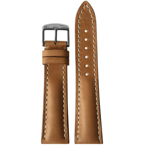 22mm (XL) Sand Genuine Vintage Leather Watch Strap with White Stitching for Breitling (22x18) | Panatime.com