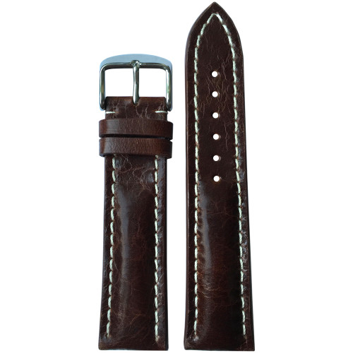 22mm (XL) Burnt Maroon Distressed Genuine Vintage Leather Watch Strap with White Stitching for Breitling (22x18) | Panatime.com