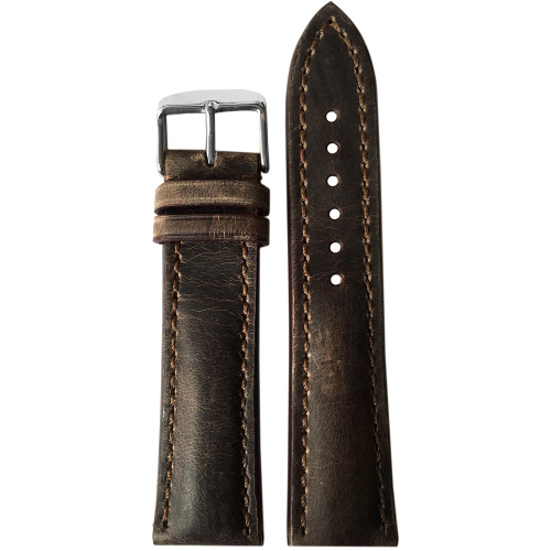 22mm (XL) Deep Oil Distressed Genuine Vintage Leather Watch Strap with White Stitching for Breitling (22x18) | Panatime.com