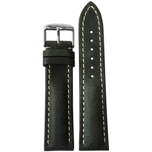 22mm (XL) Stone Genuine Vintage Leather Watch strap with White Stitching for Breitling (22x18) | Panatime.com