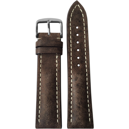 22mm (XL) Distressed Brown Genuine Vintage Leather Watch Strap with White Stitching for Breitling (22x18) | Panatime.com