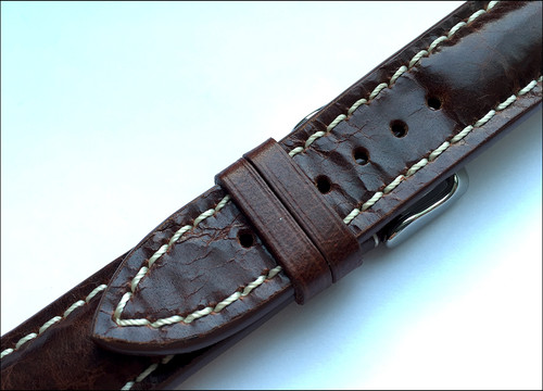 3ef59b974 ... 20mm Burnt Maroon Distressed Genuine Vintage Leather Watch Strap with  White Stitching for Breitling (20x18 ...