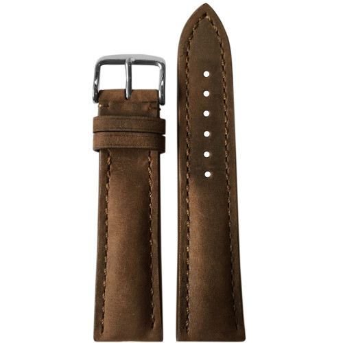 20mm Light Suede Brown Genuine Vintage Leather Watch Strap with White Stitching for Breitling (20x18) | Panatime.com