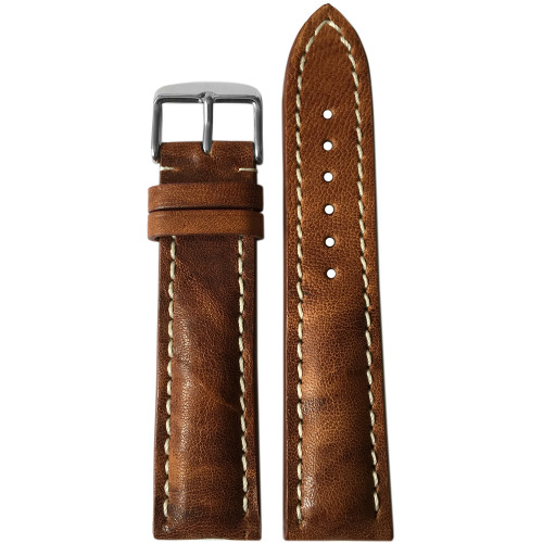 20mm (XL) Burnt Chestnut Distressed Genuine Vintage Leather Watch Strap with White Stitching for Breitling (20x18) | Panatime.com