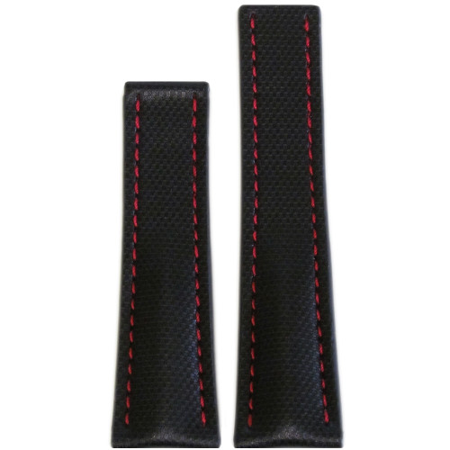 "24mm Black ""KVLR"" Style Waterproof Synthetic Watch Strap with Red Stitching for Breitling Deploy (24x20) 