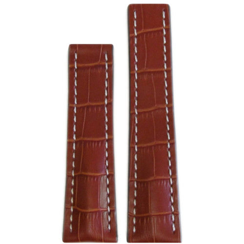 24mm Cognac Embossed Genuine Leather with Gator Print and White Stitching for Breitling Deploy (24x20) | Panatime.com