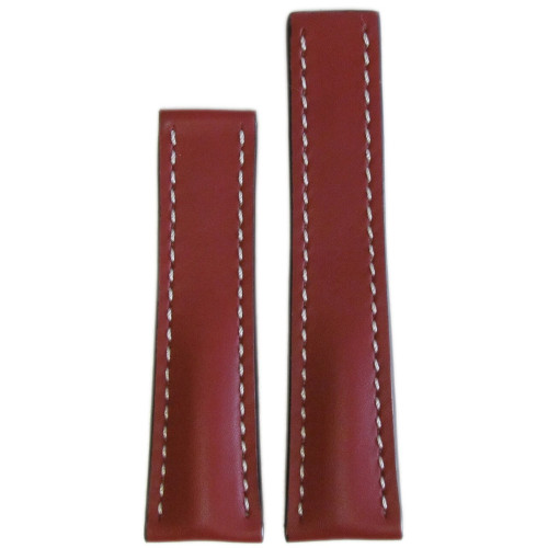 24mm Cognac Genuine Soft Calf Leather Watch Strap with White Stitching for Breitling Deploy (24x20) | Panatime.com
