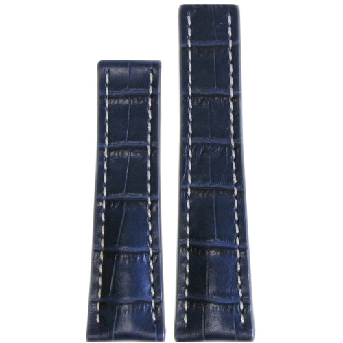 24mm Navy Embossed Genuine Leather Watch Print with Gator Print and White Stitching for Breitling Deploy (24x20) | Panatime.com