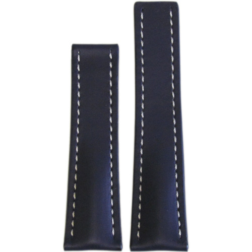 24mm Navy Genuine Soft Calf Leather Watch Strap with White Stitching for Breitling Deploy (24x20) | Panatime.com