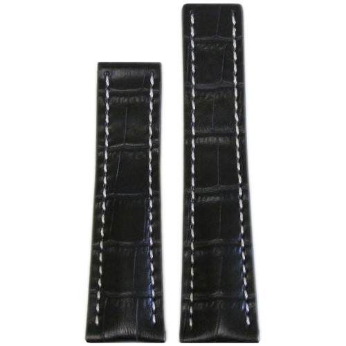 24mm Black Embossed Genuine Leather Gator Print Watch strap with White Stitching for Breitling Deploy (24x20) | Panatime.com