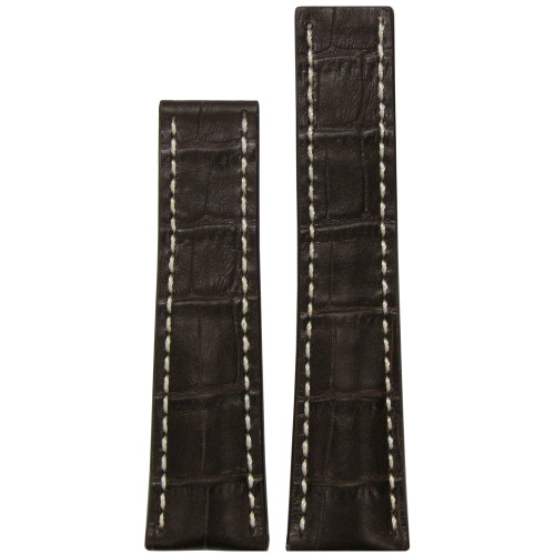 22mm Mocha Embossed Genuine Leather Gator Print with White Stitching for Breitling Deploy (22x18) | Panatime.com