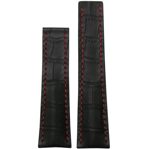 22mm Black Embossed Genuine Leather Gator Print Watch Strap with Red Stitching for Breitling Deploy (22x18) | Panatime.com