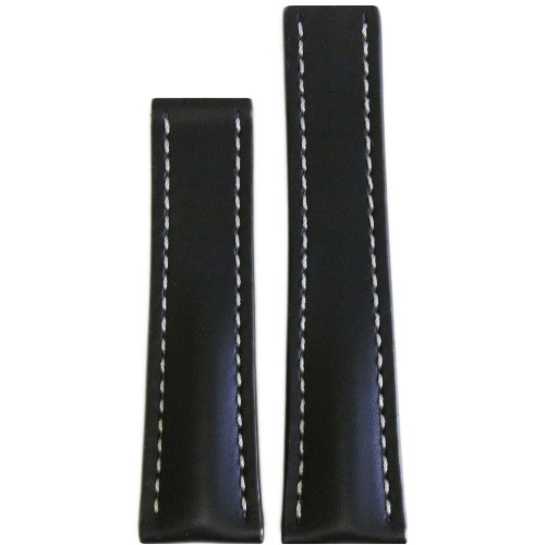 22mm Black Genuine Soft Calf Leather Watch Strap with White Stitching for Breitling Deploy (22x18) | Panatime.com