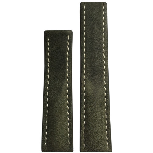 22mm Olive Genuine Vintage Leather Watch Strap with White Stitching for Breitling Deploy (22x20) | Panatime.com