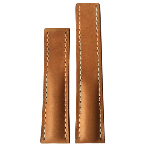 22mm Sand Distressed Genuine Vintage Leather Watch Strap with White Stitching for Breitling Deploy (22x18) | Panatime.com