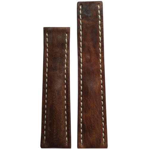 22mm Aged Brown Distressed Genuine Vintage Leather Watch Strap with White Stitching for Breitling Deploy (22x18)