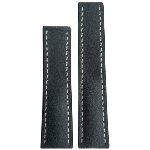 22mm (XL) Rough Grey Genuine Leather Watch Strap with White Stitching for Breitling Deploy (22x18) | Panatime.com