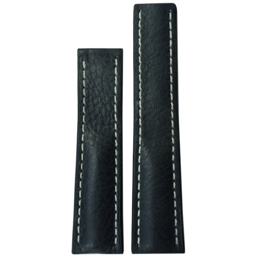 22mm (XL) Charcoal Genuine Vintage Leather Watch Strap with White Stitching for Breitling Deploy (22x20) | Panatime.com