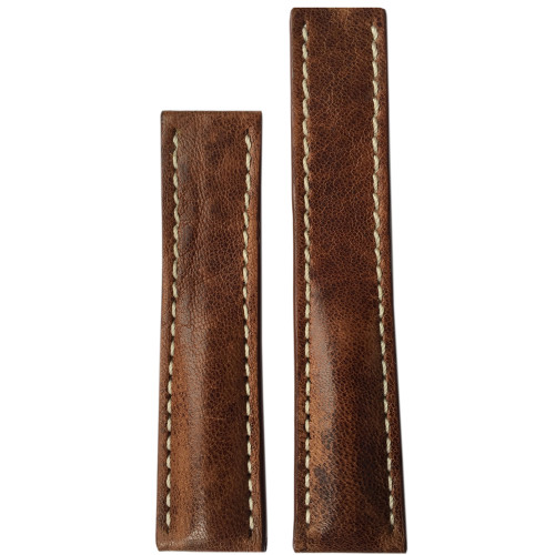 22mm (XL) Burnt Chestnut Distressed Genuine Vintage Leather Watch Strap with White Stitching for Breitling Deploy (22x18) | Panatime.com