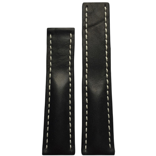 22mm (XL) Black Genuine Vintage Leather Watch Strap with White Stitching for Breitling Deploy (22x18) | Panatime.com