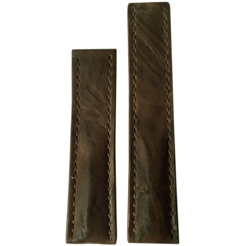 20mm Distressed Walnut Genuine Vintage Leather Watch Strap with Match Stitching for Breitling Deploy (20x18)