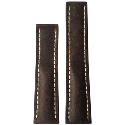 20mm Dark Brown Distressed Genuine Vintage Leather Watch Strap with White Stitching for Breitling Deploy (20x18) | Panatime.com