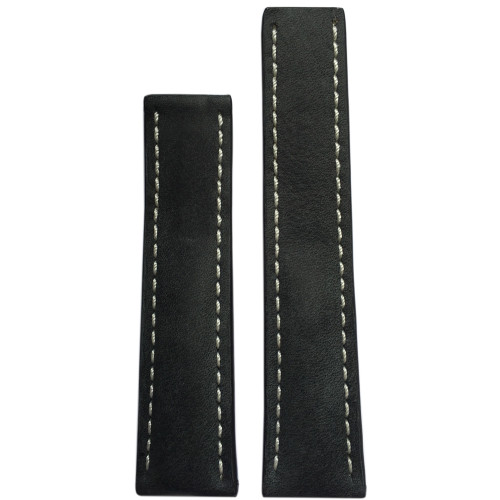 20mm (XL) Stone Genuine Vintage Leather Watch Strap with White Stitching for Breitling Deploy (20x18) | Panatime.com