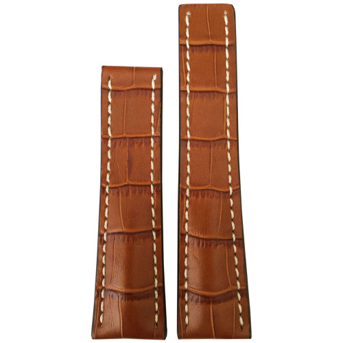 24mm Honey Embossed Leather Gator Print Watch Strap with White Stitching for Breitling Deploy (24x20) | Panatime.com