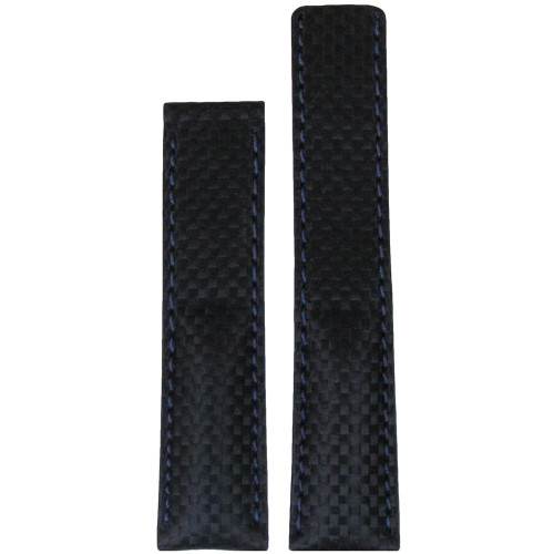 20mm Black Carbon Fiber Style Watch Strap with Navy Stitching for Breitling Deploy (20x18) | Panatime.com