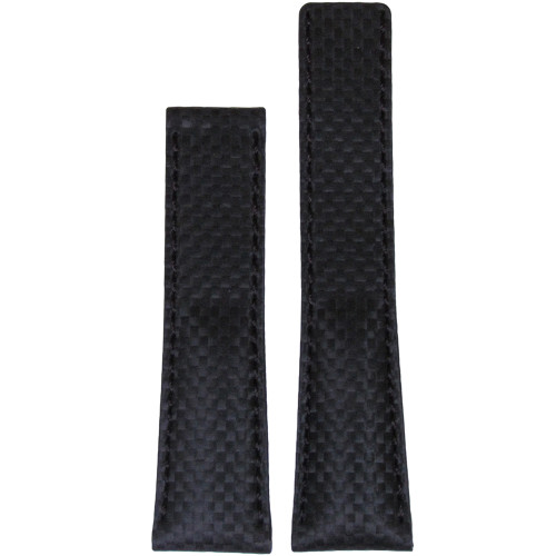 24mm Black Carbon Fiber Style Watch Strap with Black Stitching for Breitling Deploy (24x20) | Panatime.com