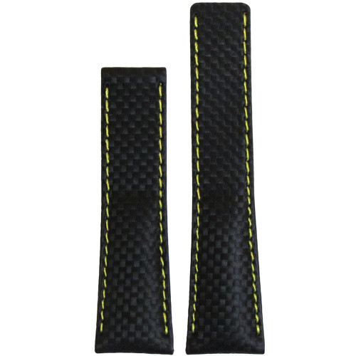 24mm Black Carbon Fiber Style Watch Strap with Yellow Stitching for Breitling Deploy (20x18) | Panatime.com