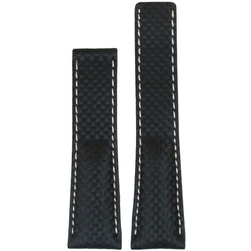 24mm Black Carbon Fiber Style Watch Strap with White Stitch for Breitling Deploy (22x20) | Panatime.com