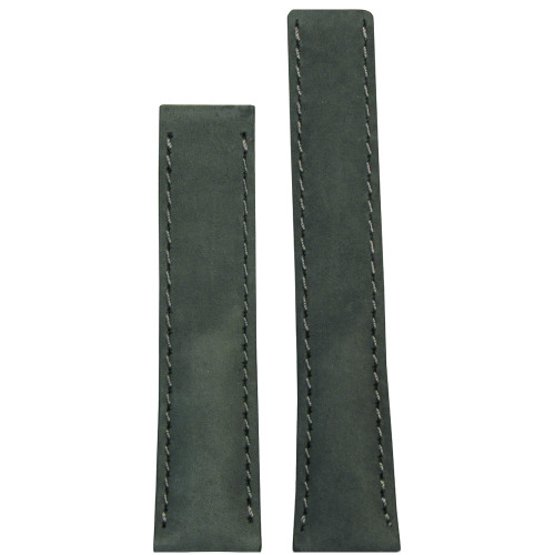 "20mm Grey ""Loco"" Horse Watch Strap with Match Stitching for Breitling Deploy (20x18) 