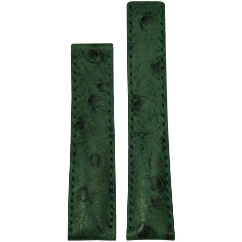 24mm Green Genuine Ostrich Watch Strap with Match Stitching for Breitling Deploy (24x20) | Panatime.com