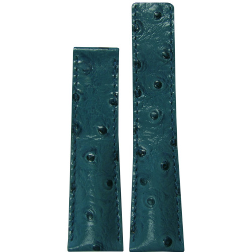 24mm Turquoise Genuine Ostrich Watch Strap with Match Stitching for Breitling Deploy (24x20) | Panatime.com