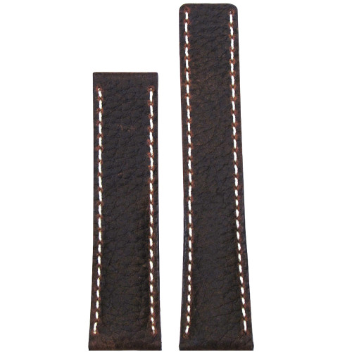 24mm Brown Deep Oil Watch Strap with White Stitching for Breitling Deploy (24x20) | Panatime.com