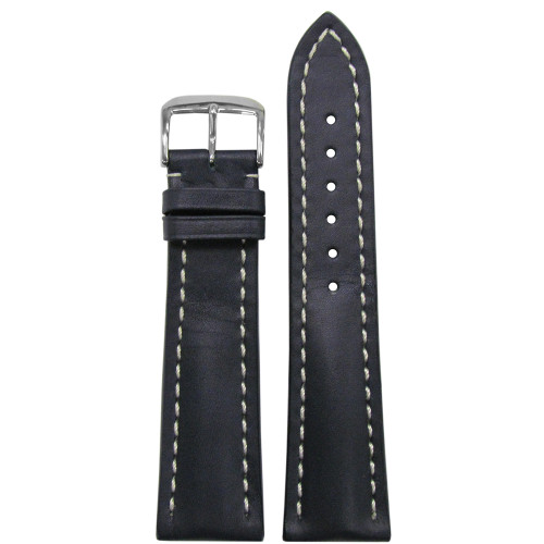 20mm Navy Genuine Soft Calf Leather Watch Strap with White Stitching for Breitling (20x18) | Panatime.com