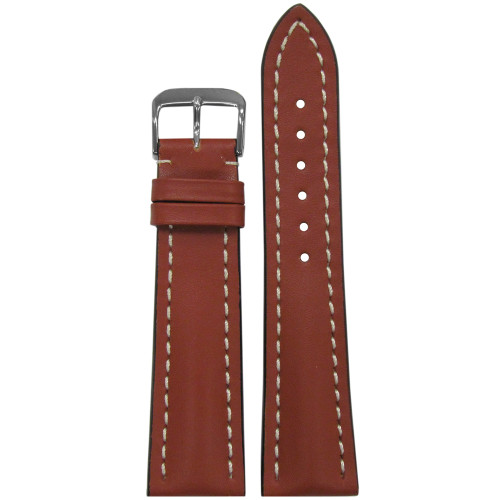22mm Cognac Genuine Soft Calf Leather Watch Strap with White Stitching for Breitling (22x18) | Panatime.com