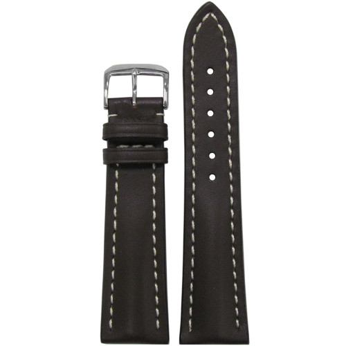 22mm Mocha Genuine Soft Calf Leather Watch Strap with White Stitching for Breitling (22x18) | Panatime.com
