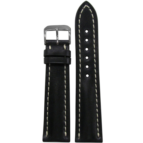 20mm Black Genuine Shell Cordovan Leather Watch Strap with White Stitching for Breitling (20x18) | Panatime.com