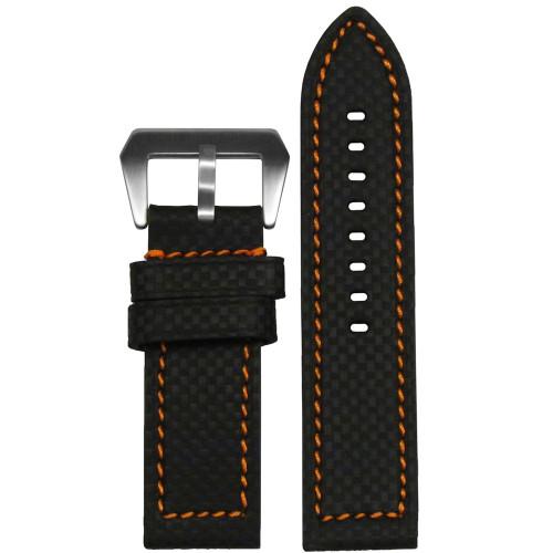 22mm Black Carbon Fiber Style Flat Coramid Style Watch Strap with Orange Stitching | Panatime.com