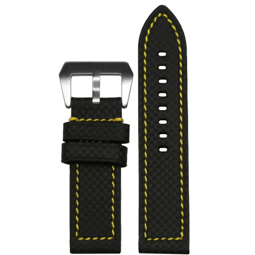 26mm Black Carbon Fiber Style Flat Coramid Watch Strap with Yellow Stitching | Panatime.com