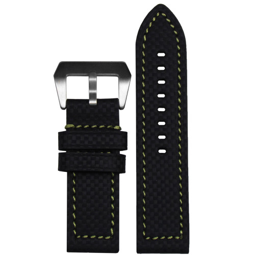 24mm Black Carbon Fiber Style Flat Coramid Watch Strap with Green Stitching | Panatime.com