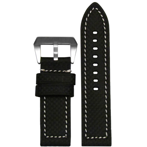 26mm (XL) Black Carbon Fiber Style Flat Coramid Watch Strap with White Stitch ing | Panatime.com