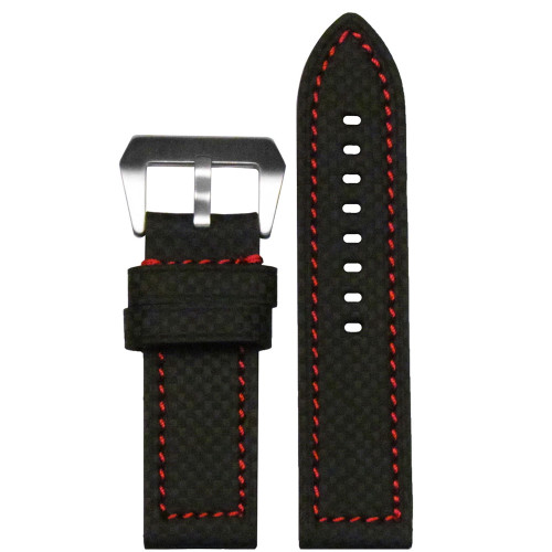 24mm Black Carbon Fiber Coramid Style Watch Strap with Red Stitching | Panatime.com