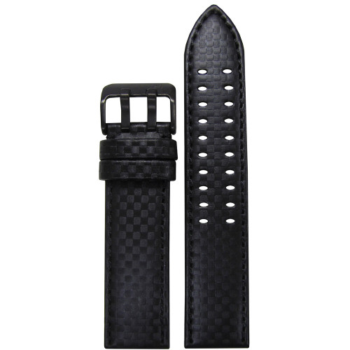 22mm PM Black Carbon Fiber Style Watch Strap with Black Stitching and  Double Tang PVD Buckle | Panatime.com