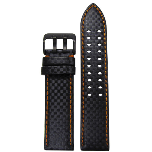 22mm PM Black Carbon Fiber Style Watch Strap with Orange Stitch,ing and Double Tang PVD Buckle | Panatime.com