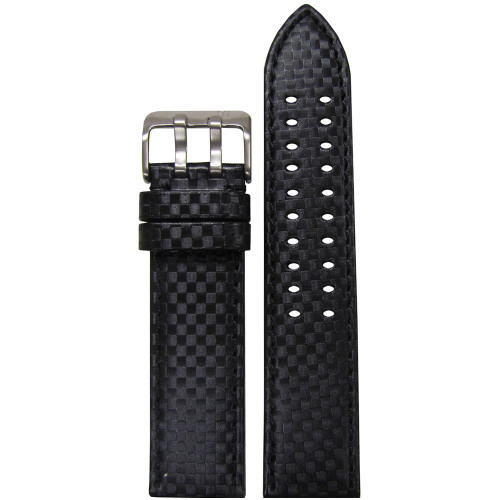 22mm PM Black Carbon Fiber Style Watch Strap with Black Stitching and Double Tang Buckle | Panatime.com
